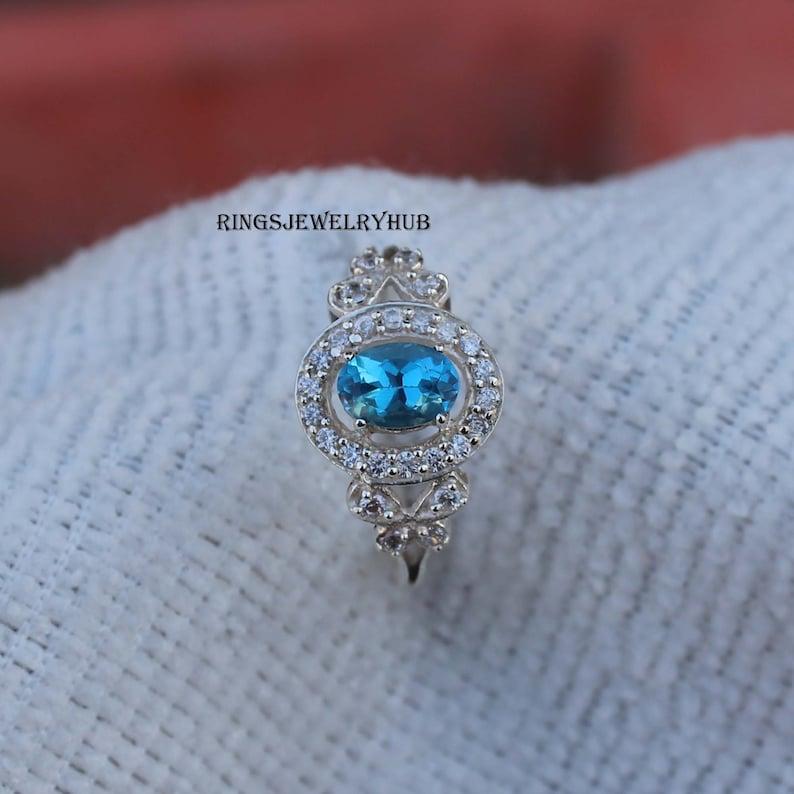 Swiss Blue Topaz Ring Sky Blue Topaz Silver Jewelry 925 Sterling Silver Birthday Gift Ring November Birthstone
