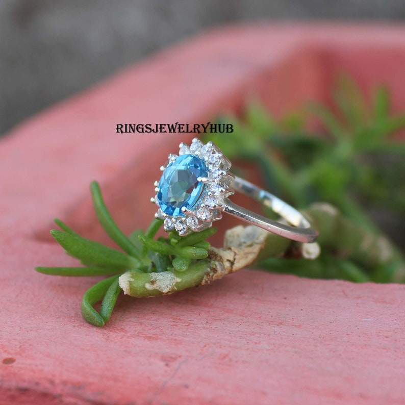 Swiss Blue Topaz Ring Topaz Sterling Silver Engagement Ring For Wife Topaz Silver Ring Gemstone Ring Swiss Blue Topaz Blue Stone Ring