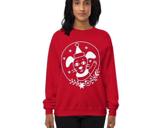 Unisex fleece sweatshirt - Happy wintertime doggy