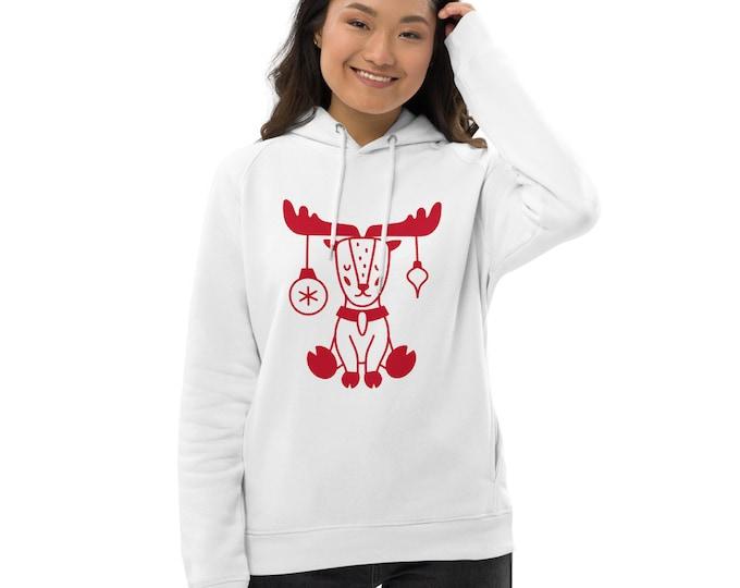 Organic eco Pullover hoodie - Sitting Deer - Xmas