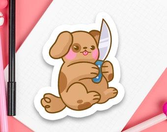"""Knife Puppy 3"""" inch Kawaii Cute Dangerous Dog Die Cut Sticker   Laptop iPad Bullet Journal Planner Matte Waterproof Hydroflask"""