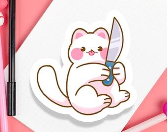 """Knife Cat 3"""" inch Kawaii Cute Dangerous Kitty Die Cut Sticker   Laptop iPad Bullet Journal Planner Matte Waterproof Hydroflask"""
