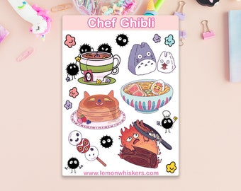 Chef Ghibli Sticker Sheet, Cute Anime Food, Calcifer and Soot Sprites