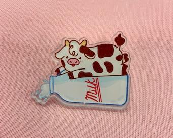 Milk Cow Acrylic Pin, 1.5 inch Kawaii Cute Acrylic Pin