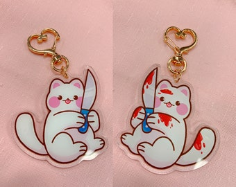 Knife Cat Acrylic Keychain, 2.5 inches double sided with heart clasp, Kawaii Cute Kitty Cat
