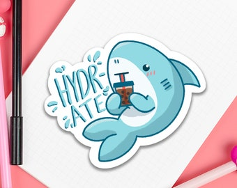 "Hydrate Shark 3"" inch Kawaii Cute Boba Tea Die Cut Sticker   Laptop iPad Bullet Journal Planner Matte Waterproof Hydroflask"