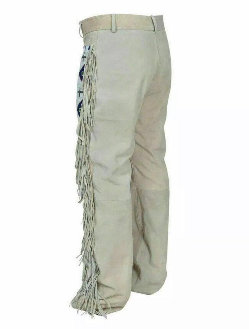 Men/'s Native American Buckskin Suede Leather Pant Fringes Long Beads Reenactment