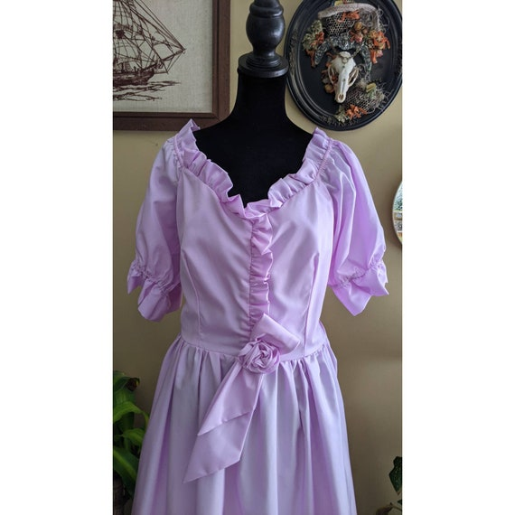 vintage cottagecore lavender ballgown with rosett… - image 5