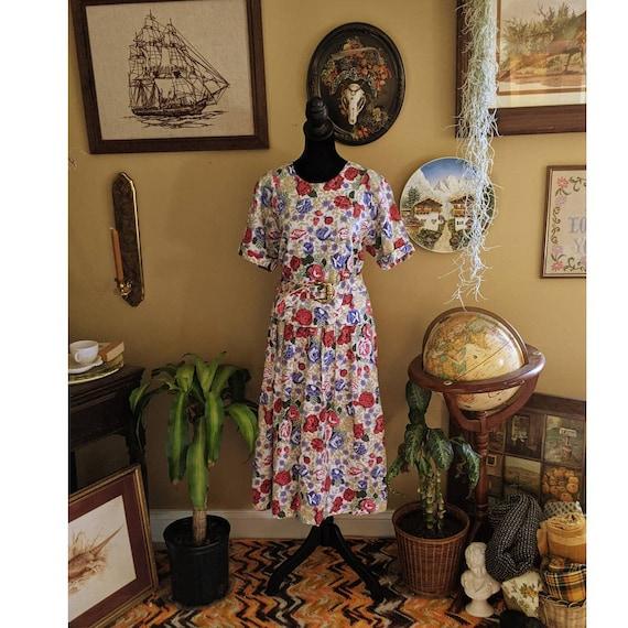 vintage 80's cottagecore sundress floral dress - image 1