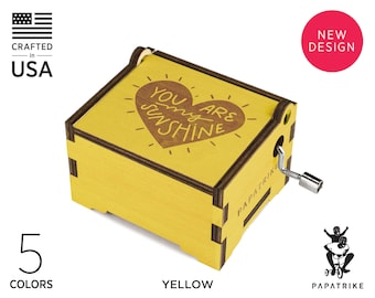 Personalized You Are My Sunshine Music Box, 5+ Colors on Basswood, 32+ music available, Engraved Loving Notes/ Photo