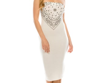 Doublefive Women/'s Casual Basic Paisley Bandanas for Women Strapless Bodycon Midi Club Dresses