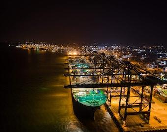 The Port of Felixtowe by Night
