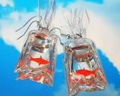 Goldfish bag earrings, Fun Quirky Earrings, Gifts for her/him/them, carnival earrings, cute resin earrings, goldfish gift