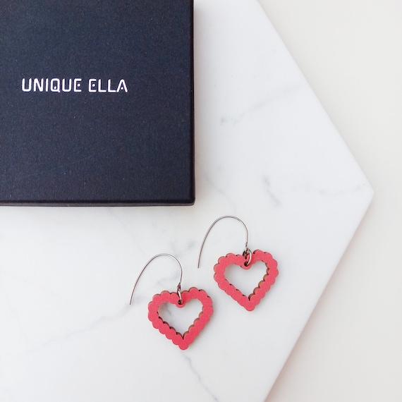 Unique Heart Earrings   Colourful Wooden Jewellery   Scandinavian Design