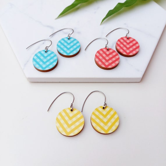 Colourful Arrow Earrings   Unique Wooden Earrings   Scandinavian Design   High Quality Sustainable Jewellery