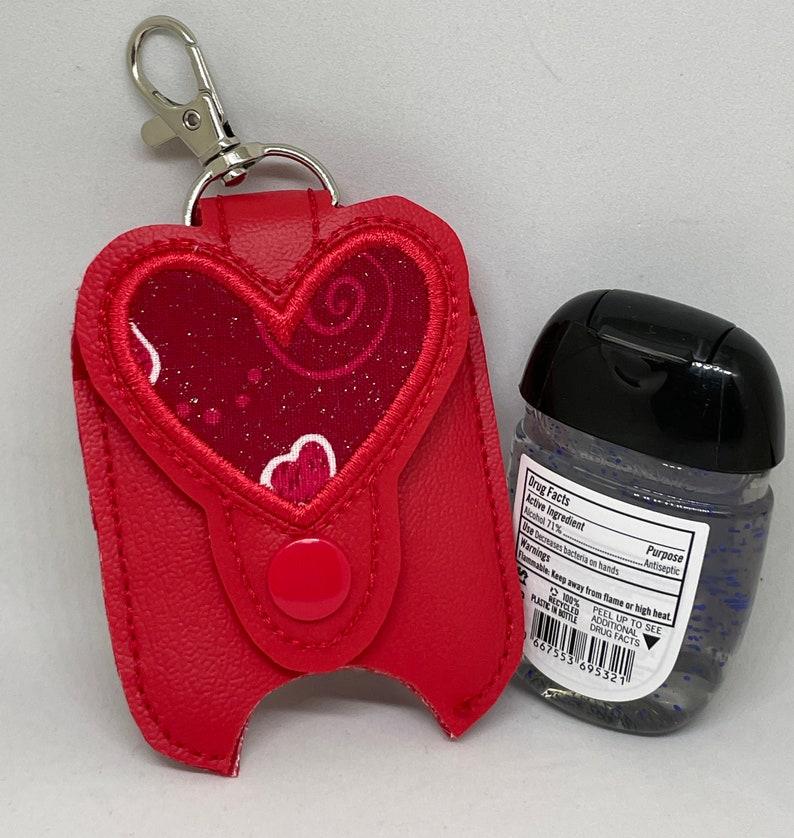 Red Glitter Heart Hand Sanitizer Holder image 0