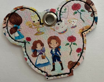mouse head key topper with beauty and the beast characters