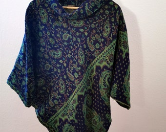 Warm poncho with paisley pattern, blue / green, reversible poncho