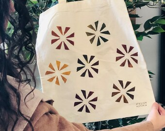 Hand-Painted Tote Bag in Fall Colors Theme