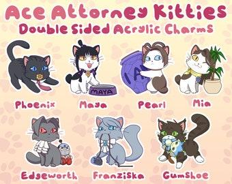 Ace Attorney Kitties Acrylic Charms