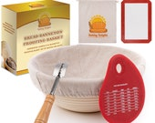 Baking Delights Banneton Proofing Basket Set 9 quot Brotform Rattan Bowl Includes Bread Lame, Silicone Baking Mat, Bread Bag Bread Scraper