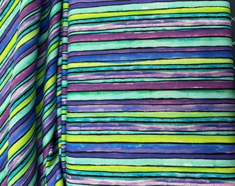 Purple, blue and green striped fabric by P&B Textiles