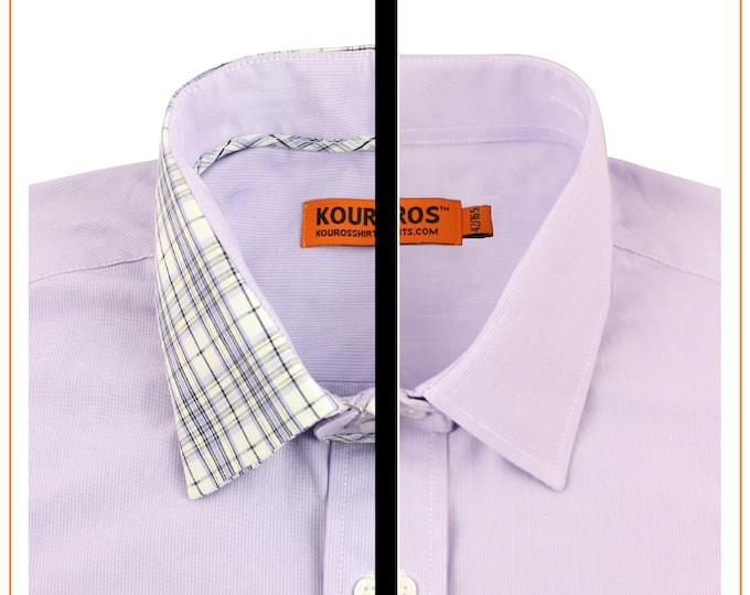 Men's Premium Designer Modern Slim Fit Dress Shirt with matching FREE collar cover Lavendar