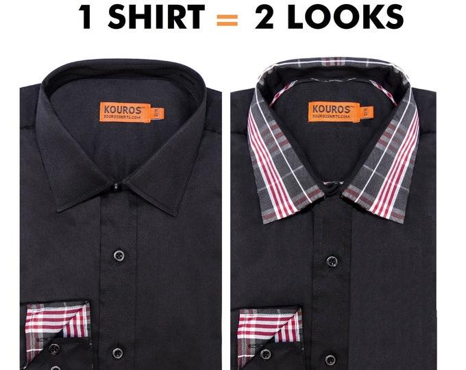 Men's Premium Designer Modern Slim Fit Dress Shirt with matching FREE collar cover, Black