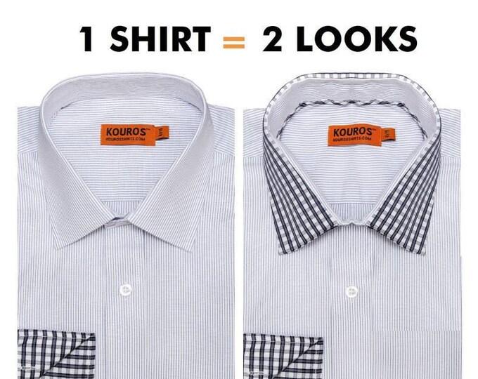Men's Premium Designer Modern Slim Fit Dress Shirt with matching FREE collar cover