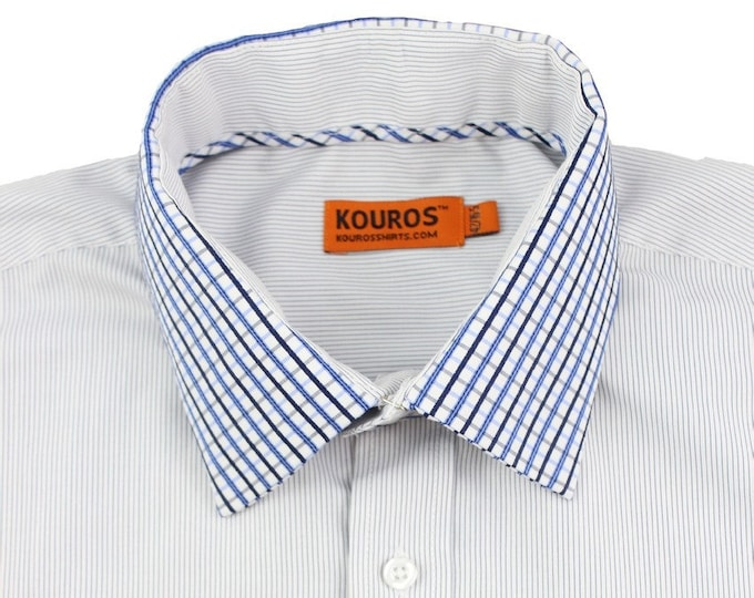 Men's Premium Designer Modern Slim Fit Dress Shirt with matching FREE collar cover, Ocean Blue
