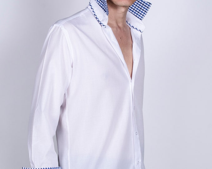 Men's Premium Designer Modern Slim Fit Dress Shirt with matching FREE collar cover, White