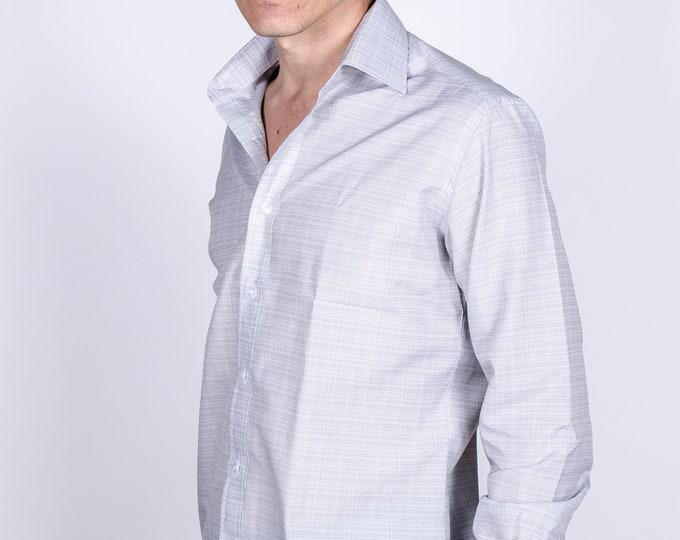 Men's Premium Designer Modern Slim Fit Dress Shirt with matching FREE collar cover, Dark Gray