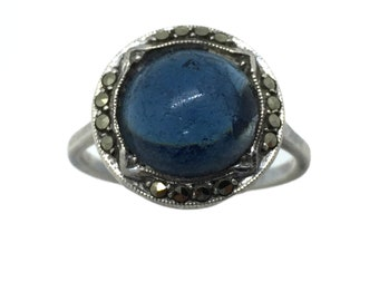 Antique Art Deco 1920's 935 Silver Cobalt Blue Paste & Marcasite Stone Ring Size – L