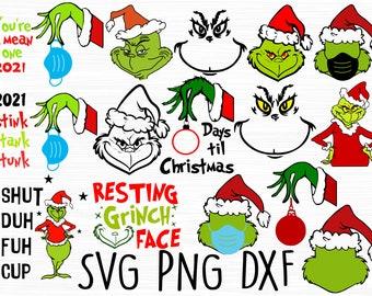 Grinch svg, Grinch christmas svg, Christmas svg, Grinchmas svg, Grinch face svg, Cut file svg, Cricut svg, png svg dxf