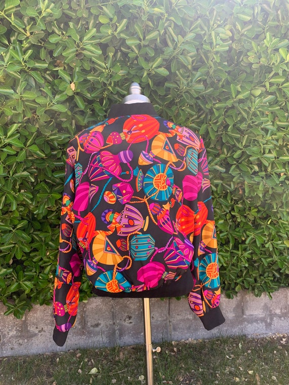 Bright Colorful Fun Bomber Jacket, Vintage 1990s … - image 3