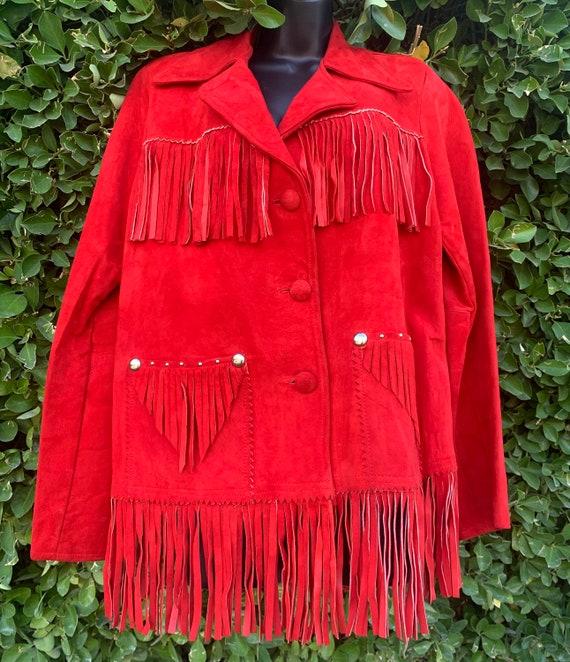 Vintage 50s Red Western Fringe Suede Jacket