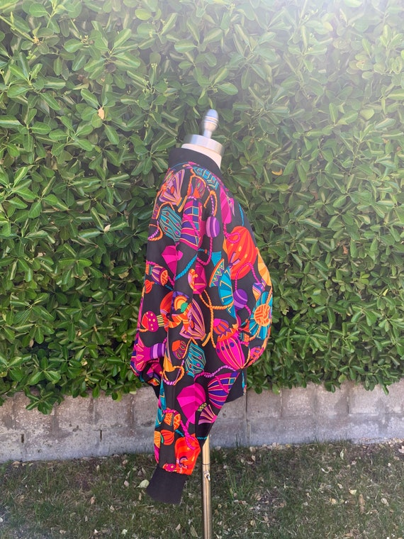 Bright Colorful Fun Bomber Jacket, Vintage 1990s … - image 2
