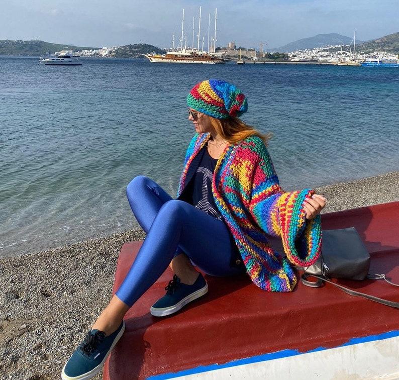 Rainbow cardigan handmade long sleeve
