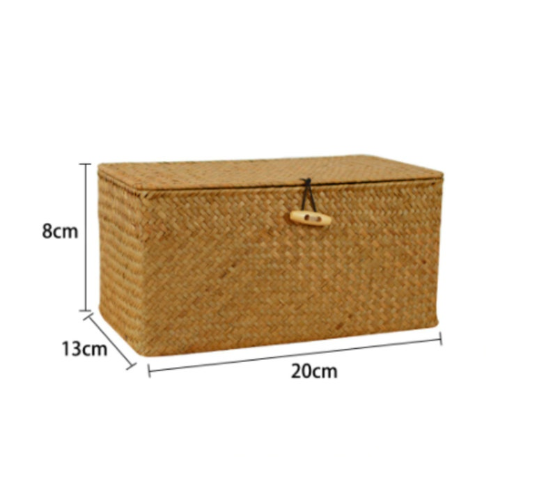 Hand-Woven Debris Seaweed Storage Box Sundries Storage Box Clothes Storage Basket Finishing Basket With Lid For Home Storage