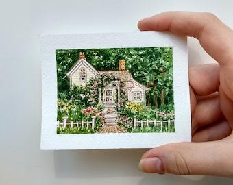 Watercolor miniature painting Custom watercolor house Sketch watercolor