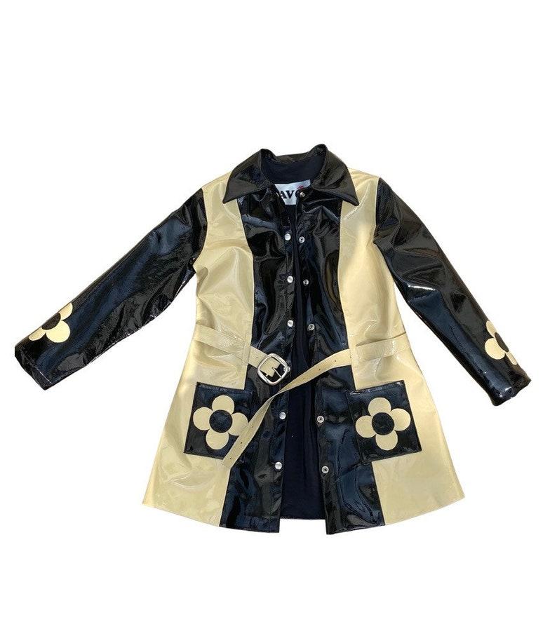Vintage Coats & Jackets | Retro Coats and Jackets Real Monochrome Patent Leather Coat Jacket Handmade Mod Gogo 60s 70s $322.81 AT vintagedancer.com