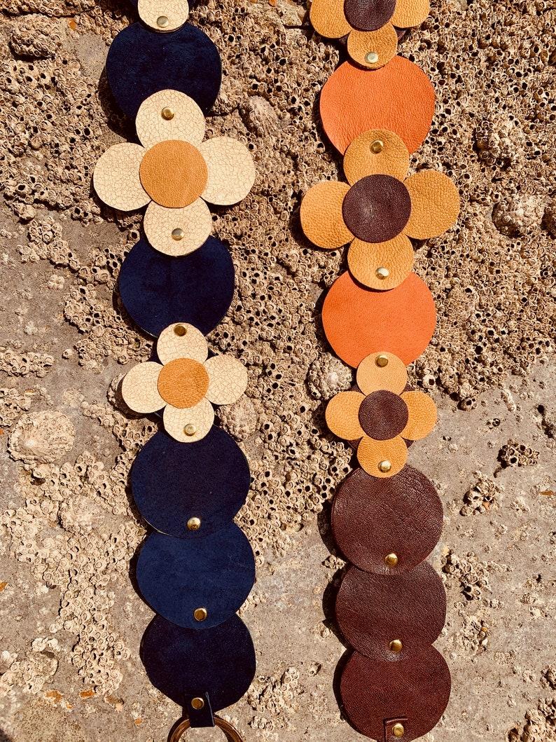 Vintage Wide Belts, Cinch Belts, Skinny 50s Belts Handmade 60s 70s Style Leather and Suede Flower Power Belt $35.87 AT vintagedancer.com
