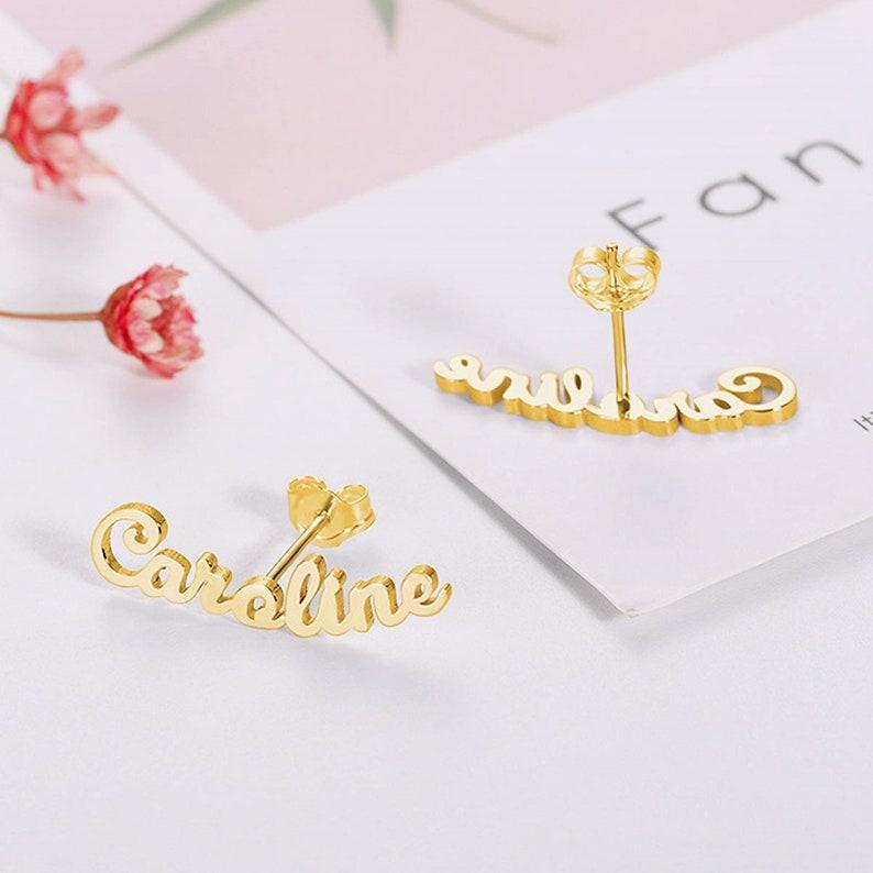 Name Earrings Gift For Her Personalized Name Earrings Custom Earrings For Women Dainty Stud Earrings Mothers Earrings Gold Earrings