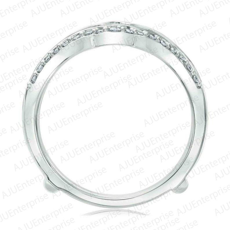 3.00 Ct Round Cut Simulated Diamond 14K White Gold Finish 925 Sterling Silver Enhancer Wrap Engagement Wedding Band Ring Birthday gift