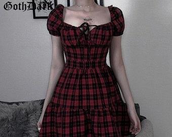 Gothic Dress Gothic Plaid A-Line Women Mini Dress Grunge Punk Bandage Skinny Emo Party Dress Short Sleeve Summer Streetwear