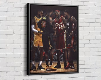 LeBron James Poster Heat Cavaliers Lakers Canvas Unique Design Wall Art Print Hand Made Ready to Hang Custom Design