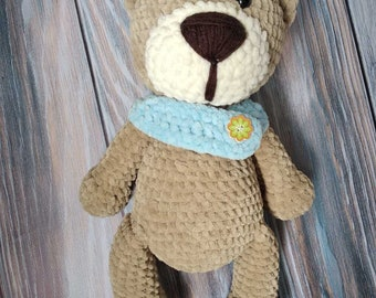 Teddy Bear Clothes Black Handknitted Scarf with Pale Blue Accent