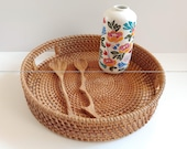 Round Rattan Serving Tray with Cut-Out Handle for Breakfast Coffee Tea Bread, Rattan Fruit Storage, Woven Basket Tray, Rustic Woven Tray