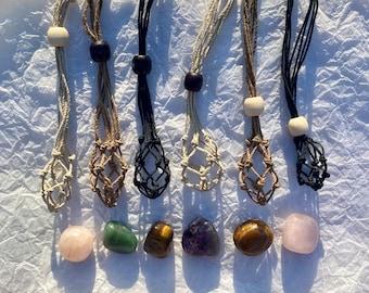 Crystal Pouch Hemp Necklace, Interchangeable Crystal Necklace, Macrame Necklace, Hemp Drawstring Necklace, Gemstone Necklace