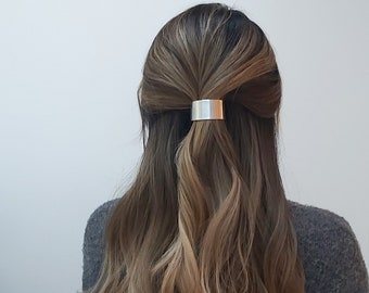 Sophisticated Curved Gold & Silver hair clip, Minimalist French Hair Barrette